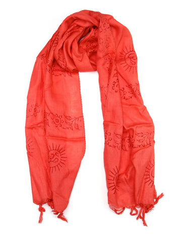 Small Om Prayer Scarf in Coral