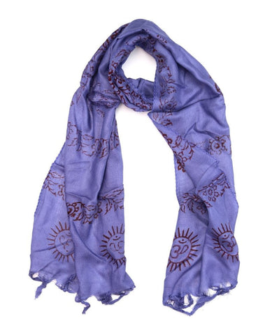 Small Om Prayer Scarf in Deep Blue