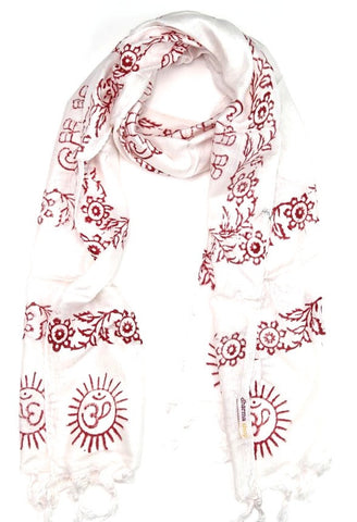 Small Om Prayer Scarf in White