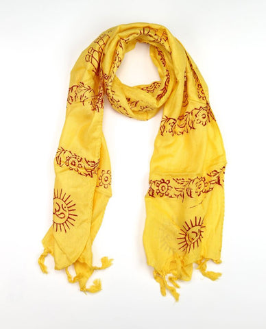 Small Om Prayer Scarf in Sunflower Yellow