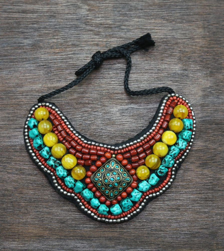 Traditional Tibetan Necklace Coral and Turquoise