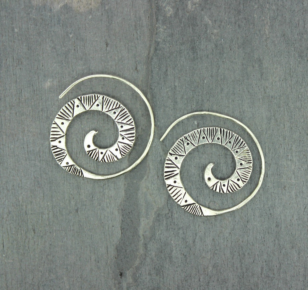 Amazing Large Swirl Earrings Solid Hill Tribe Silver