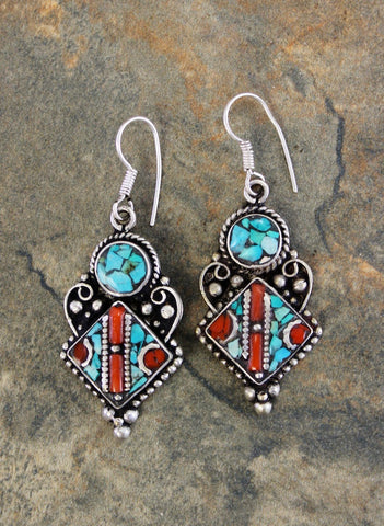 Traditional Tibetan Coral and Turquoise earrings