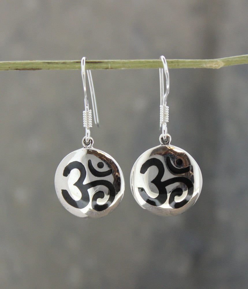 Black Enamel and Sterling Om Earrings