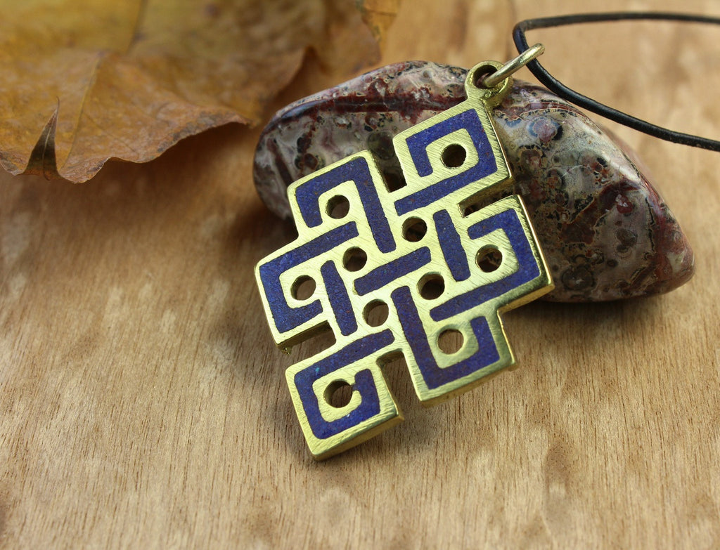 Brass and Lapis Eternal Knot Pendant