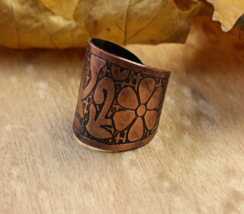 Adjustable Recycled Copper Lotus Ring