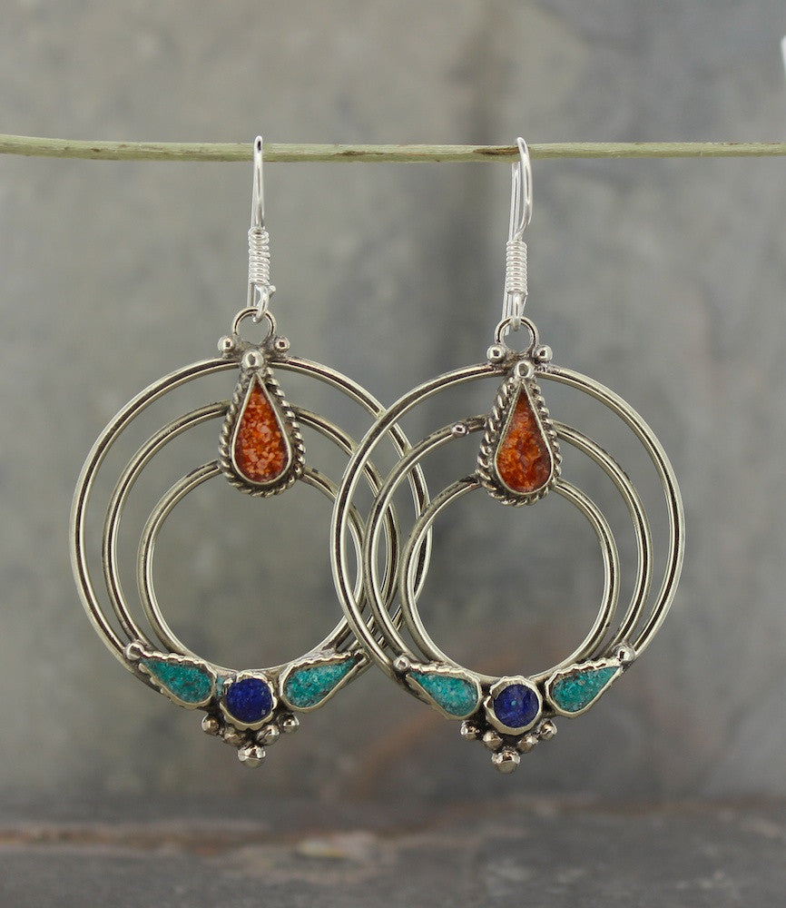 Three-Spirals Tibetan Earrings