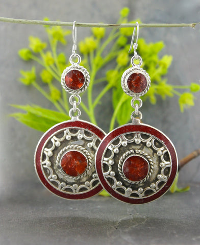 Large Coral Circles Earrings