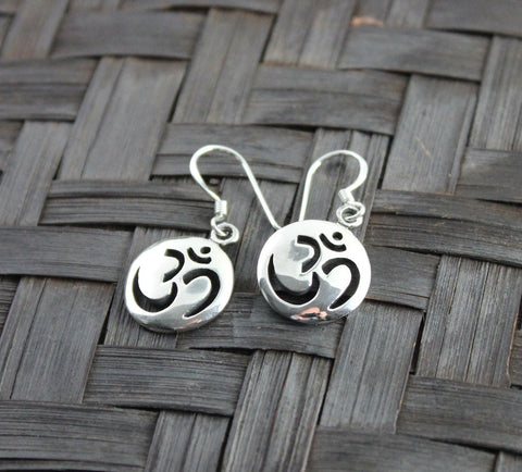 Cut-out Sterling Silver OM Earrings