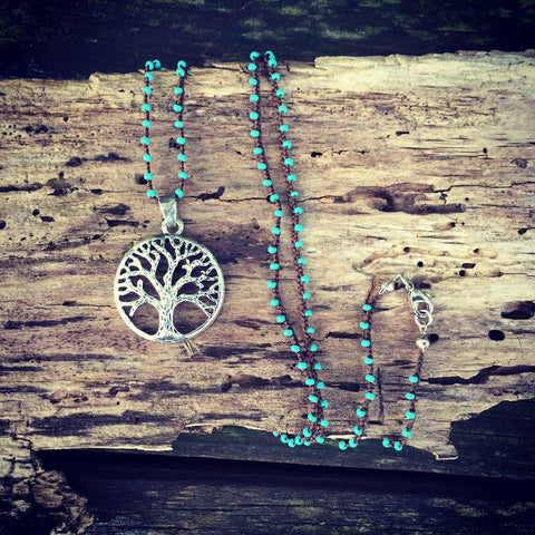 Tree Of Life Turquoise Beaded Necklace