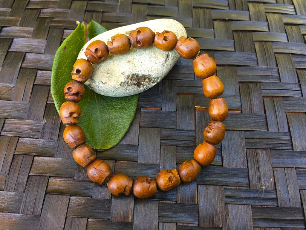 Wooden Hand Carved Skull Wrist Mala