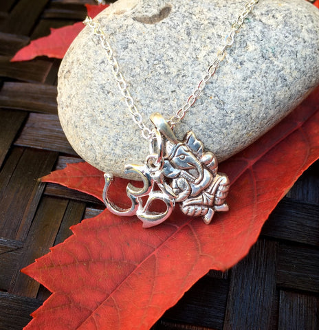 Ganesh OM Necklace in Sterling Silver