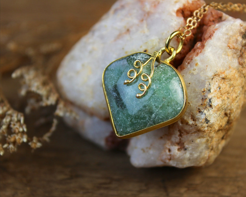 Jade and Gold Strawberry Pendant