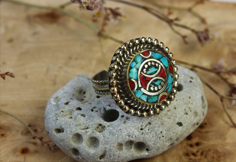 Classic Tibetan Ring With Coral and Turquoise