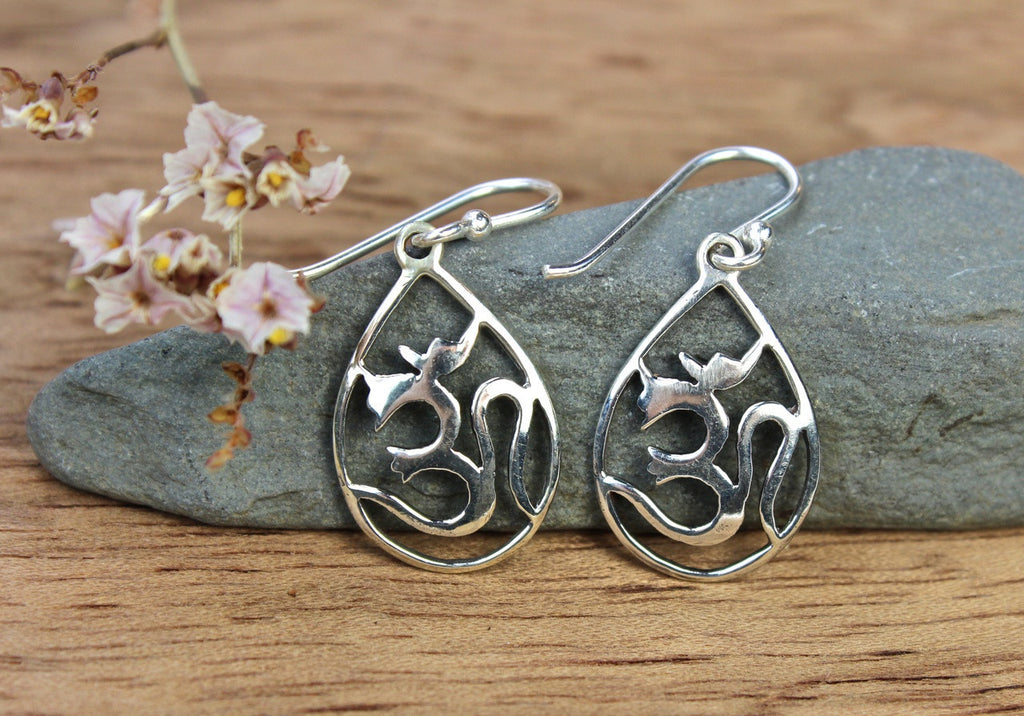 Sterling Om Drop Earrings