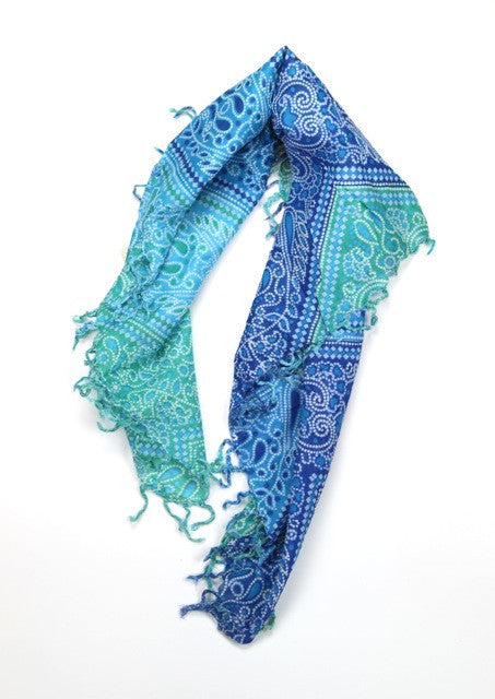 Cotton Square Tassel Scarf in Blue Greens