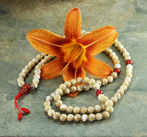 Equisite Mother of Pearl Tibetan Mala Beads