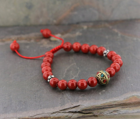Red Jade and Brass Wrist Mala
