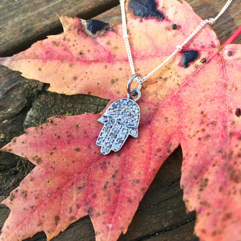 Pave Diamond Sterling Silver Hamsa Necklace