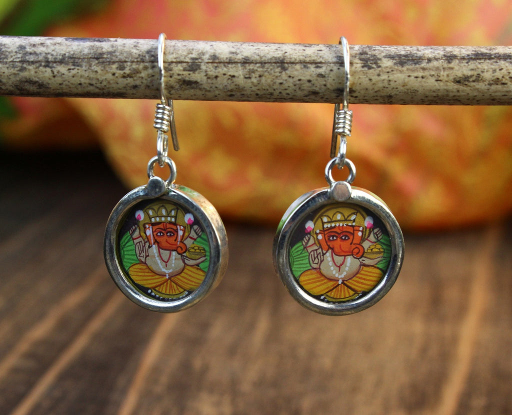 One of a Kind Hand Painted Ganesh Earrings