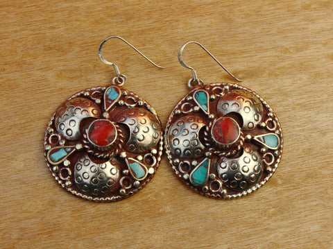 Tibetan Coral Center Round Earrings