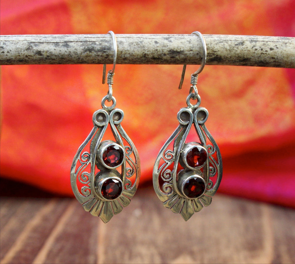 Decorative Garnet Earrings