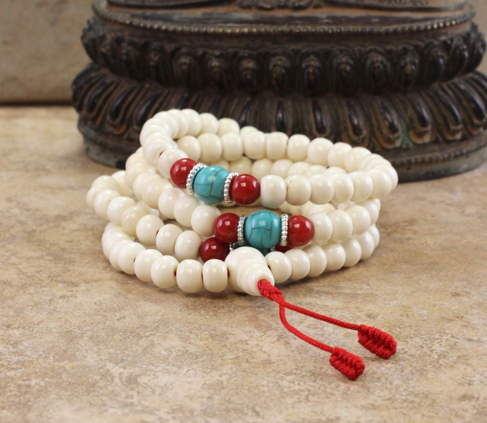 Beautiful Bone Turquoise and Coral Tibetan 108 Mala