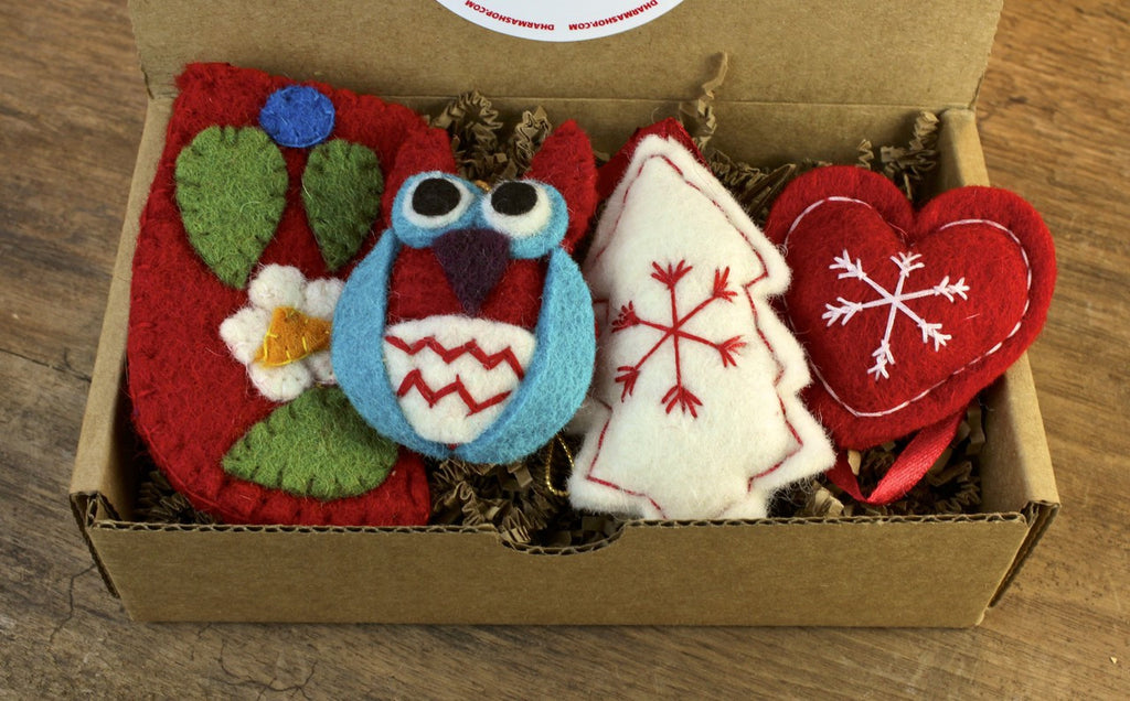 Gift Set of 4 Fair Trade Wool Ornaments