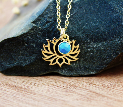 Gold Lotus and Turquoise Necklace
