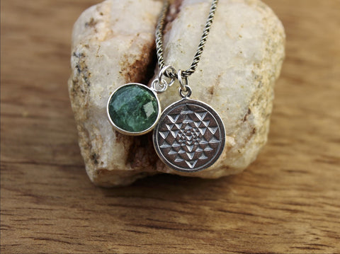 Emerald Sacred Geometry Heart Chakra Necklace