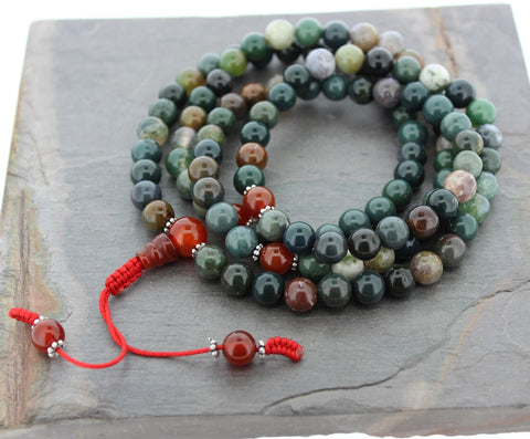 Fancy Jasper Hand Adjustable Knot Mala