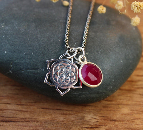 Ruby Sacred Geometry Heart Chakra Necklace