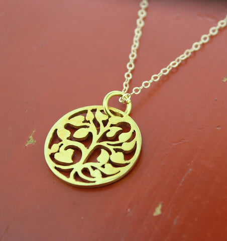Tibetan Gold Tree of Life Necklace