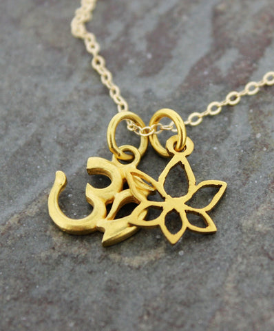 Sanskrit OM and Lotus Gold Necklace