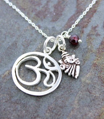 Sterling Om Ganesh and Amethyst Necklace