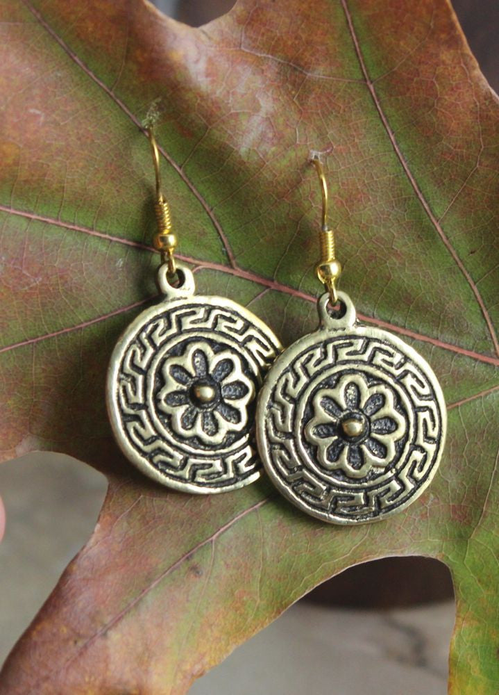 Brass Mandala-style Earrings