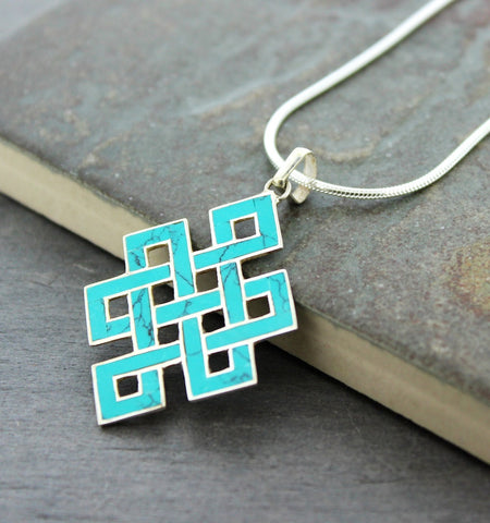 Turquoise and Silver Eternal Knot Pendant