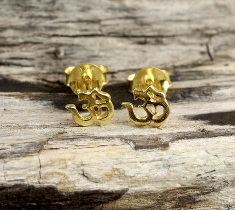 Tiny Gold OM Earrings