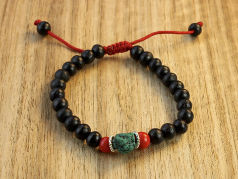 Adjustable Dark Red Wood Wrist Mala