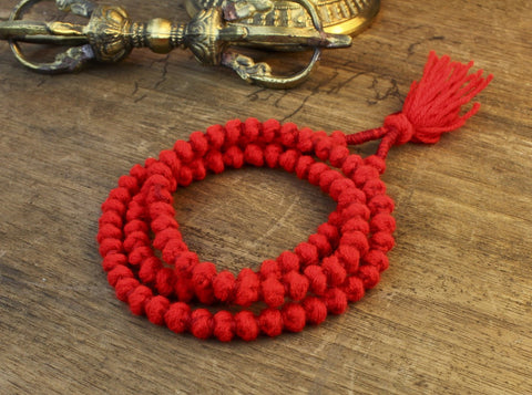 Red Wool 108 Bead Mala