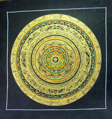 Om Mandala Painted in Gold Thangka