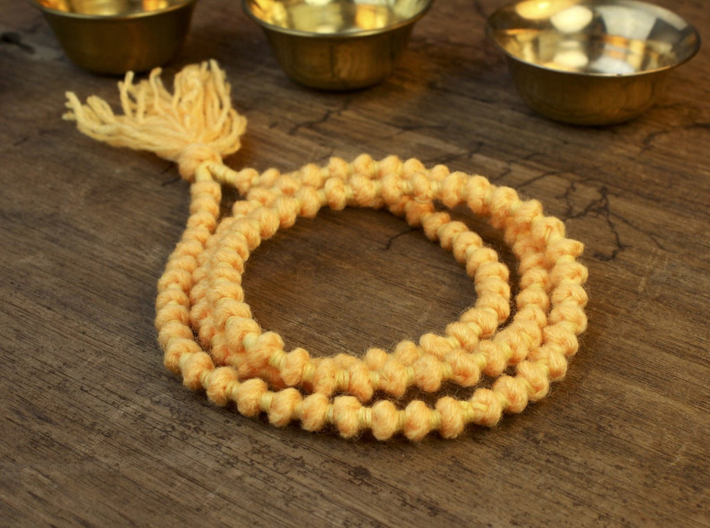 Yellow Wool 108 Bead Mala