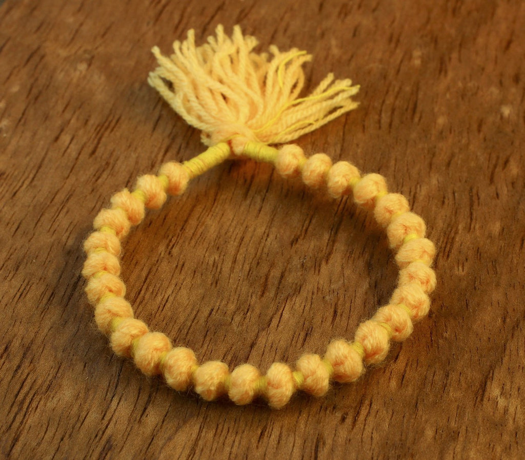 Yellow Wool Wrist Mala