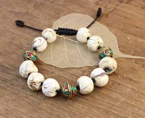Tibetan Bead and Naga Shell Bracelet