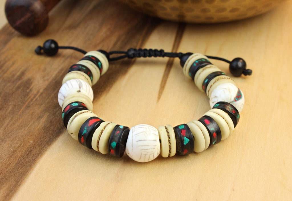 Naga Shell and Bone Wrist Mala