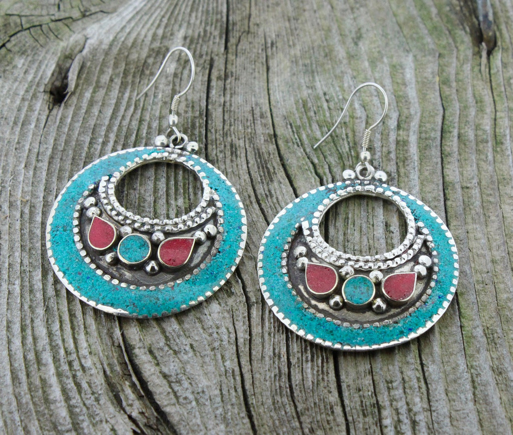 Circle Of Blessings Turquoise Tibetan Earrings