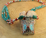 Beaded Turquoise and Coral Pendant Necklace