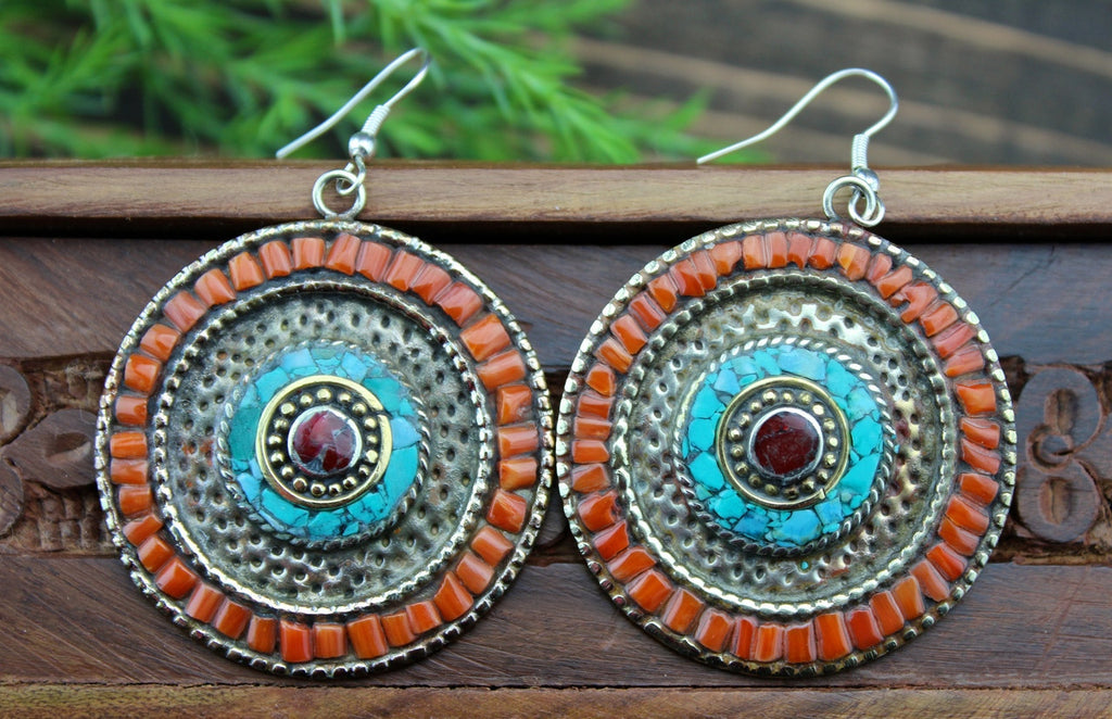 Large Tibetan Turquoise and Coral Earrings