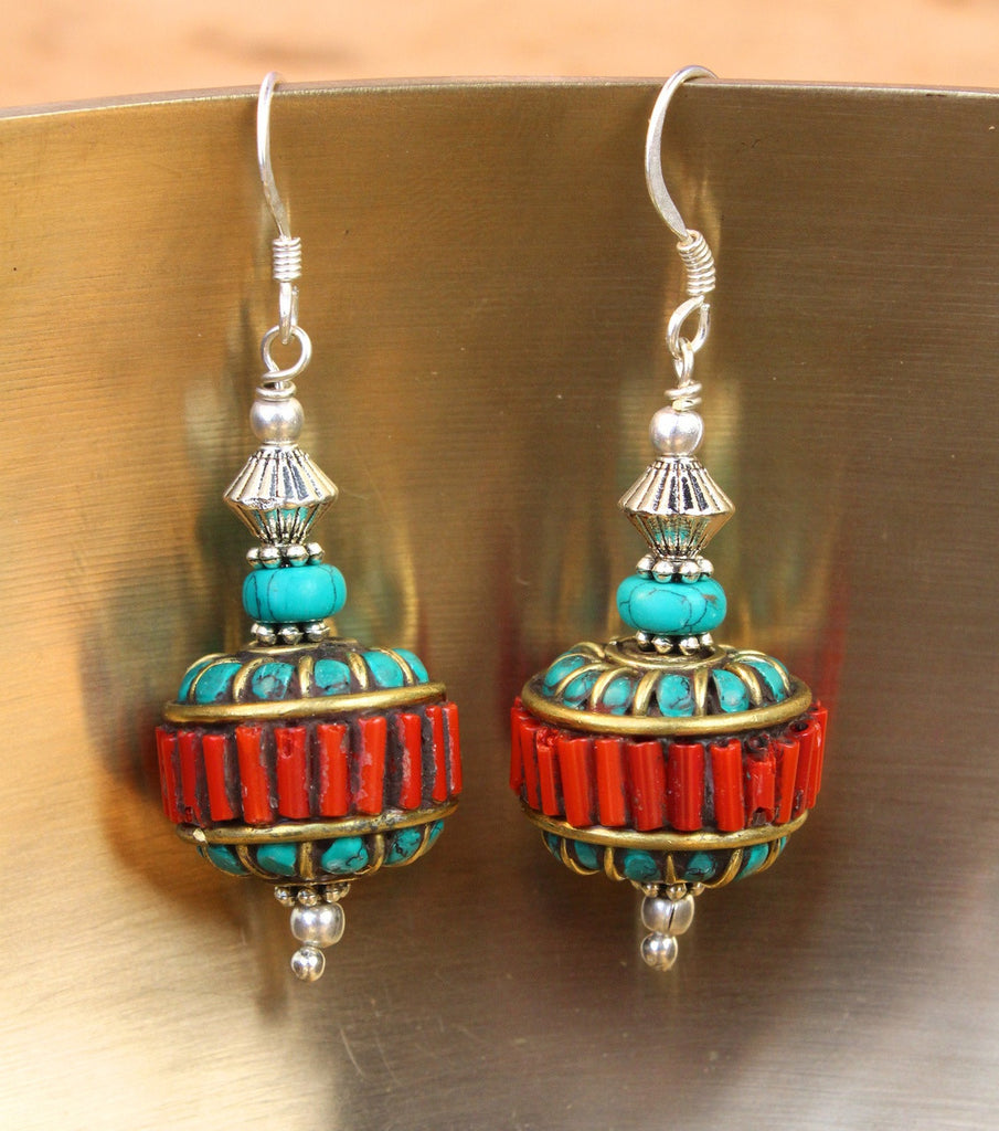 Lhasa Morning Coral and Turquoise Earrings
