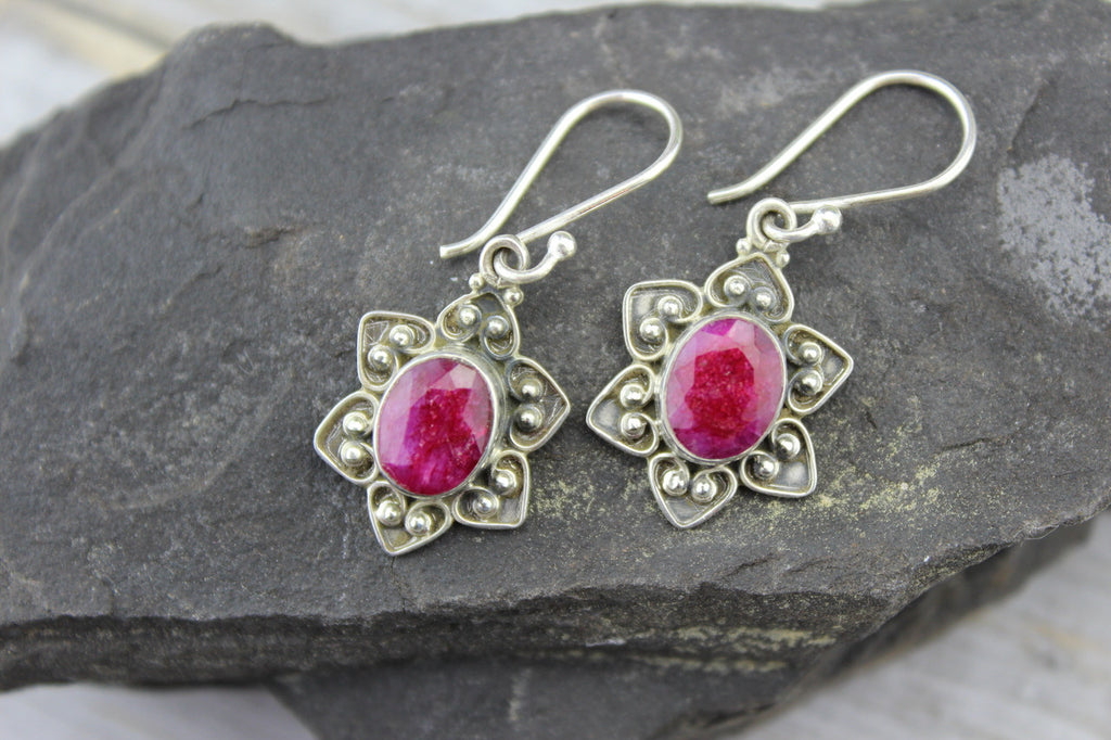 Sterling Silver and Ruby Flower Earrings